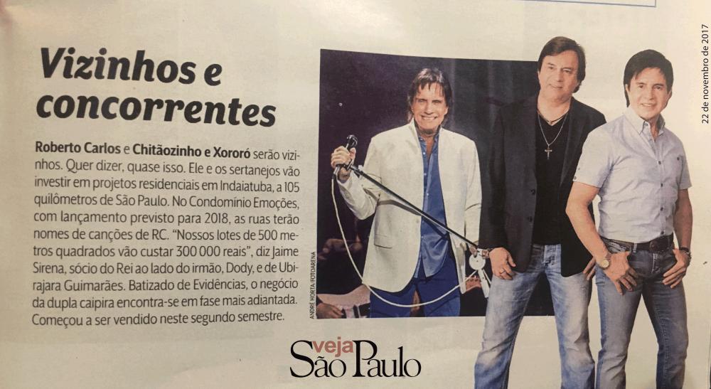 Roberto Carlos e Chitãozinhos e Xororó serão vizinhos. Quer dizer, quase isso.